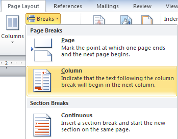 Inserting a column or section break