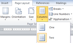 Columns on the Page Setup section