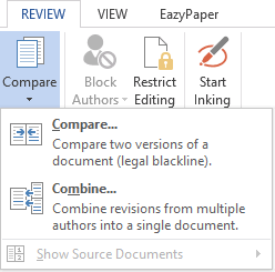 Compare and combine documents on the Word ribbon