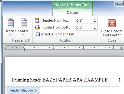 apa header and footer