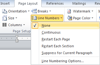 Line Numbers in the Page Setup section