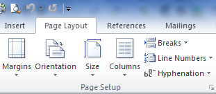 Page Setup section of the Page Layout tab