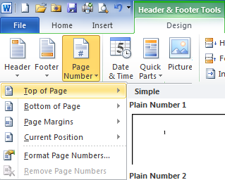 Page number position