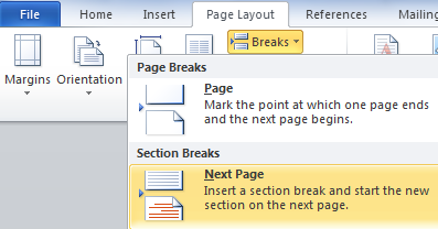 How to insert a page or section break